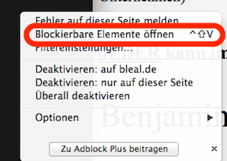 Screenshot Adblock Plus Kontextmenü