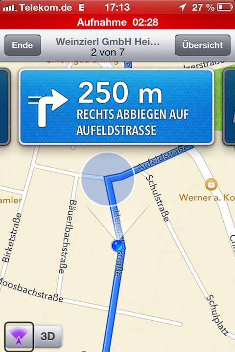 Screenshot Apple Maps Navigation Fußgängermodus