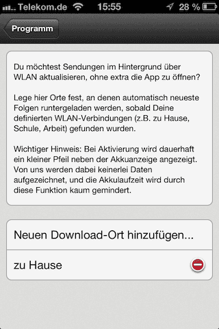 Screenshot des Menüs Download-Orte
