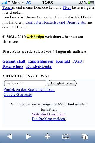 Screenshot der von Google bearbeiteten Seite