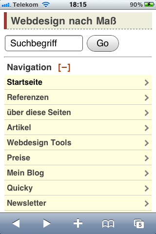 Screenshot mit Men�