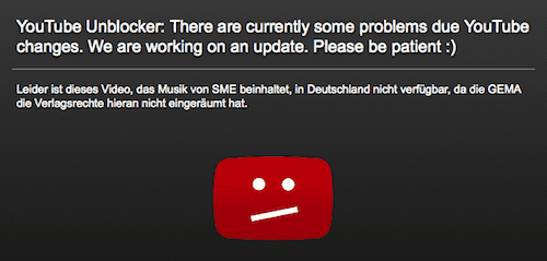 Screenshot eines Youtube Unblockers